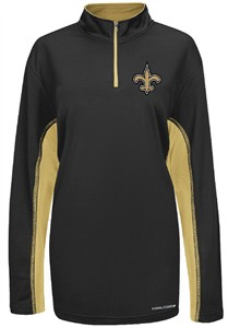 majestic New Orleans Saints Black ¼ Zip Defending Zone Cool Base Synthetic Jacket