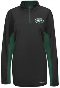 new concept b4a27 ae9b3 majestic New York Jets Black ¼ Zip Defending Zone Cool Base ...