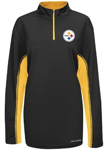 majestic Pittsburgh Steelers Black ¼ Zip Defending Zone Cool Base Synthetic  Jacket  a22f1c98a