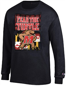 Maryland Terrapins Black Champion Fear The Turtle Long Sleeve T Shirt
