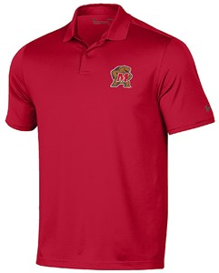 University of Maryland Terrapins Red Performance UA Polo Shirt by Under Armour on Sale
