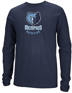 detailed look 7c15f 77577 Memphis Grizzlies Navy Primary Logo Long Sleeve Tee Shirt by ...