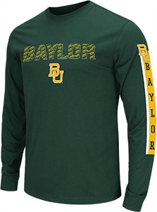 Men's Baylor Bears Green Flanker Long Sleeve Tee Shirt By Colosseum
