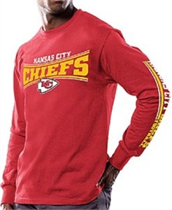 Men's Kansas City Chiefs Red Primary Receiver 9 Long Sleeve T Shirt By Majestic