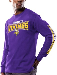 76124837 Men's Minnesota Vikings Purple Primary Receiver 9 Long Sleeve T ...