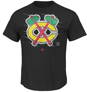 Mens Chicago Blackhawks Black Majestic Pond Hockey Short Sleeve T Shirt