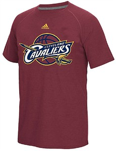 Mens Cleveland Cavaliers Adidas Wine Huge Preferred Logo ClimaCool Short Sleeve Shirt