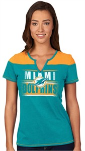 af156d71 Miami Dolphins Ladies Majestic Football Miracle Notch Neck T Shirt ...