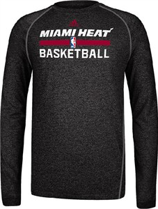 Miami Heat Heather Black Climalite Practice Long Sleeve Shirt by Adidas