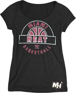 Miami Heat Women's Scoop Neck Backup Tee Shirt by Adidas