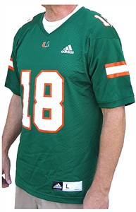 Miami Hurricanes 18 Green Adidas Adult Replica Polyester Football Jersey