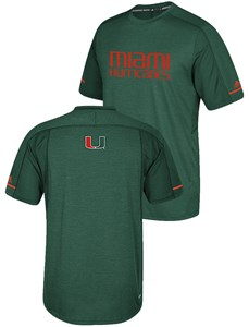 Miami Hurricanes Adidas NCAA Sideline Polyester Performance Synthetic T Shirt
