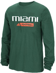 Miami Hurricanes Adidas Ultimate Sideline Gridiron Performance Long Sleeve T Shirt