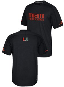 Miami Hurricanes Black Adidas NCAA Sideline Polyester Performance Synthetic T Shirt