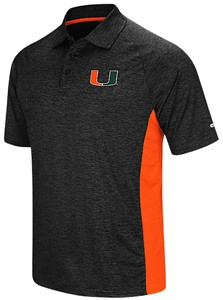 Miami Hurricanes Black Heather Synthetic Wedge Polo Shirt