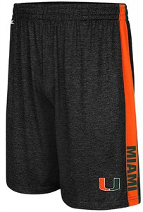 Miami Hurricanes Black Mens Wicket Synthetic College Shorts
