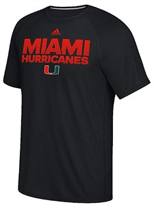 Miami Hurricanes Black Sideline Hustle Climalite Short Sleeve Shirt by Adidas