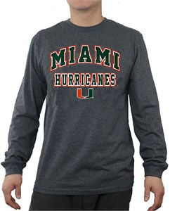 Miami Hurricanes Charcoal Over Under Long Sleeve Te Shirt