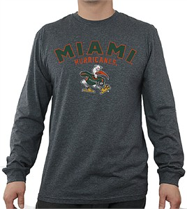Miami Hurricanes Charcoal Heather Mens Core Long Sleeve T Shirt