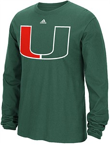 Miami Hurricanes Green Adidas Huge Preferred Logo Long Sleeve T Shirt