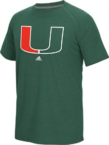 Miami Hurricanes Green Adidas Ultimate Sidelines Logo Polyester T Shirt