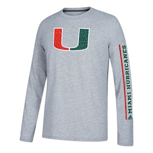 Miami Hurricanes Grey Adidas Sleeve Play Poly Climalite Long Sleeve T Shirt
