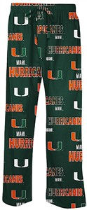 Miami Hurricanes Men's Green Sweep Pajama Pants by Concepts Sports