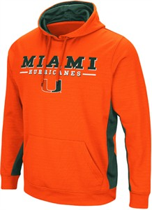 Miami Hurricanes Men's Orange Setter Synthetic Embroidered Hoodie Sweatshirt