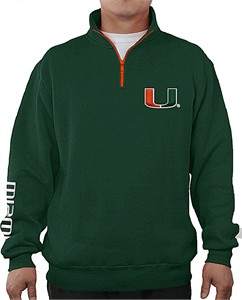 Miami Hurricanes Mens Green Apex Embroidered 1/4 Zip Pullover Sweatshirt