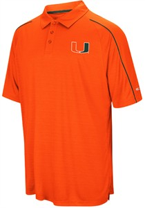 Miami Hurricanes Mens Orange Setter Synthetic Poly Polo Shirt