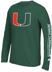 Miami Hurricanes Mens's Green Adidas Left Text Long Sleeve T Shirt