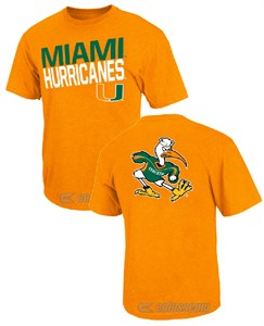 Miami Hurricanes Orange Buzzer Beater T Shirt by Colosseum