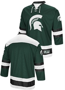 Michigan State Spartans Adult Athletic Machine Embroidered Hockey Jersey Sweater