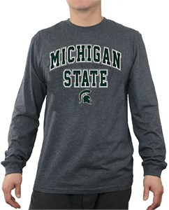 Michigan State Spartans Charcoal Over Under Long Sleeve T Shirt