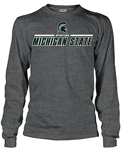 Michigan State Spartans Charcoal Challenger Long Sleeve T Shirt by E5