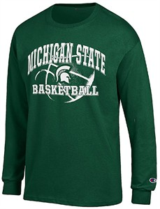 Michigan State Spartans Green Basketball Long Sleeve T Shirt by Champion on Sale