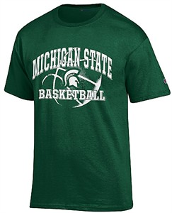 Michigan State Spartans Green Basketball Short Sleeve T Shirt by Champion