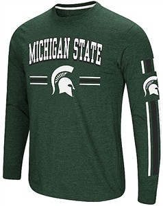 Michigan State Spartans Green Colosseum Touchdown Pass Long Sleeve T Shirt