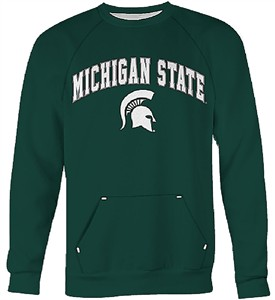 Michigan State Spartans Green Embroidered Kangaroo Pocket Classic Crewneck Sweatshirt