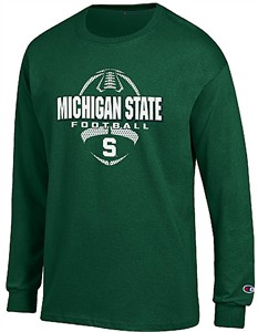 Michigan State Spartans Green Football Long Sleeve Tee Shirt by Champion