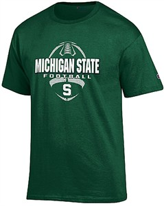 Michigan State Spartans Green Football Short Sleeve T Shirt by Champion