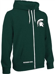Michigan State Spartans Green Receiver Embroidered Full Zip Hoodie Sweatshirt