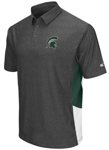 Michigan State Spartans Heather Charcoal Synthetic The Bro Polo Shirt