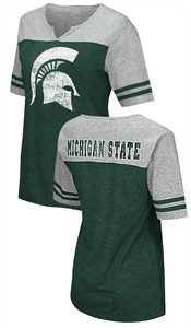 Michigan State Spartans Juniors Sized V Neck T Shirt- On A Break-Green