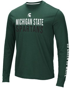 Michigan State Spartans Men's Green Lutz College Long Sleeve T Shirt