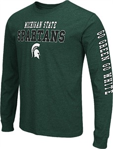 Michigan State Spartans Mens Green Colosseum Game Changer Long Sleeve T Shirt