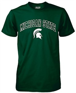 Michigan State Spartans Mens Green Modern-Fit Single Short Sleeve T Shirt
