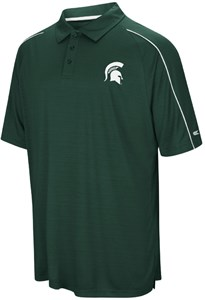 Michigan State Spartans Mens Green Setter Synthetic Poly Polo Shirt