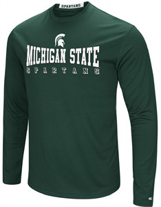 Michigan State Spartans Mens Green Synthetic Streamer Long Sleeve T Shirt