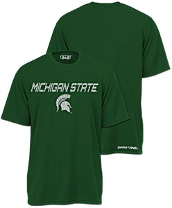 Michigan State Spartans Slim Fit Green Synthetic Active Dry T Shirt